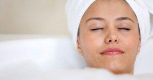 Woman in a bathtub relaxing