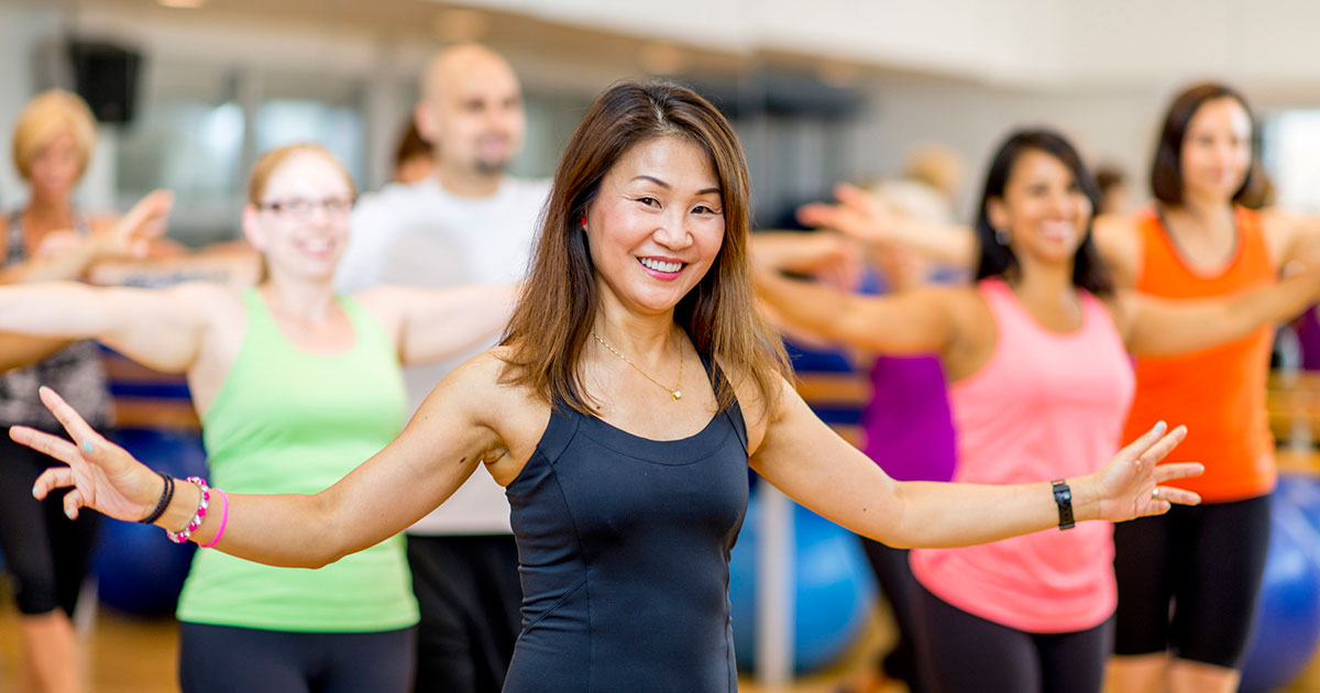 Group dance exercise class