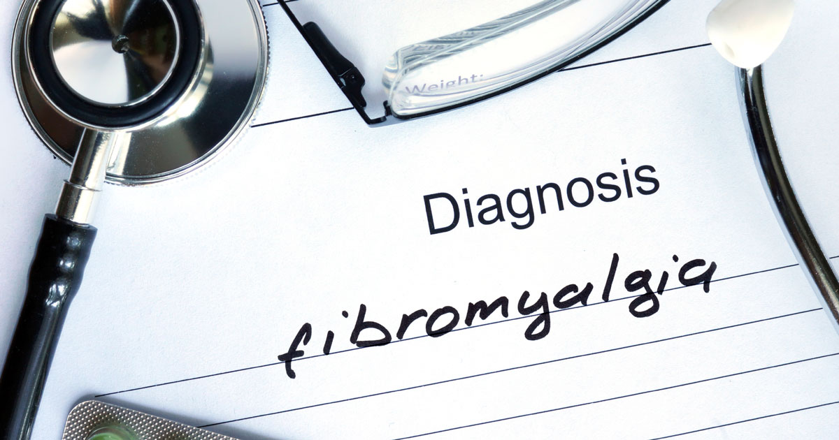 "Form that reads ""diagnosis: fibromyalgia"" with stethoscope"