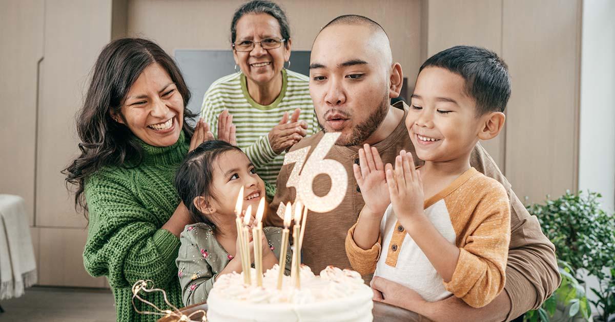 Hispanic family celebrating birthday