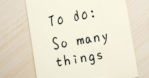 Sticky note reading: to do: so many things