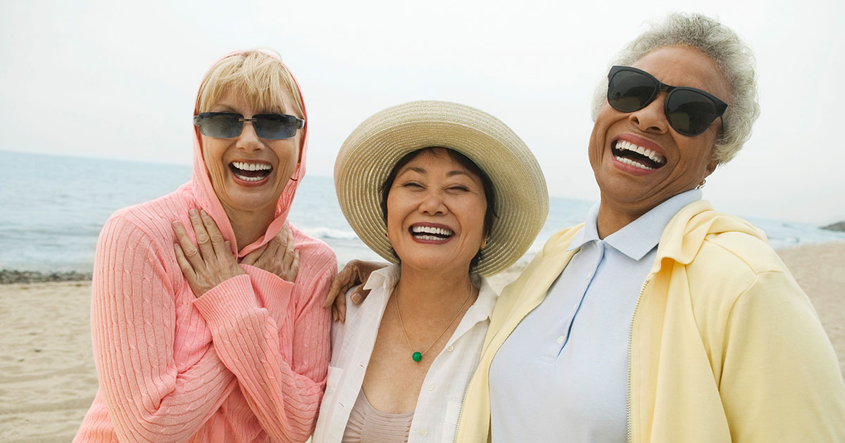 Three older ladies on the beach